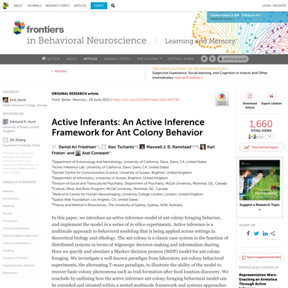 Active Inferants: An Active Inference Framework for Ant Colony Behavior