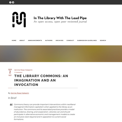 The Library Commons: An Imagination and an Invocation – In the Library with the Lead Pipe