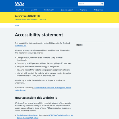 Accessibility statement - NHS website