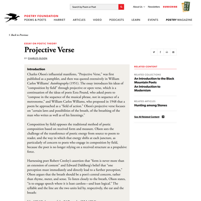 Projective Verse by Charles Olson | Poetry Foundation