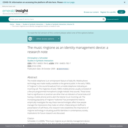 The music ringtone as an identity management device: a research note   Emerald Insight