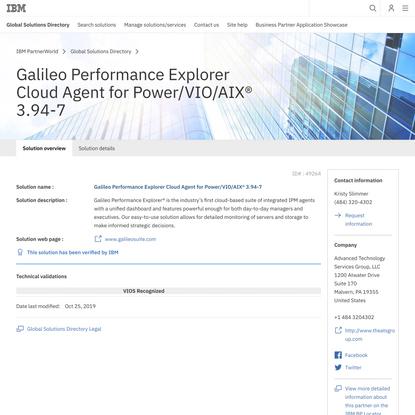 IBM - Galileo Performance Explorer Cloud Agent for Power/VIO/AIX®
