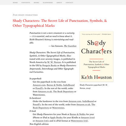 Shady Characters: The Secret Life of Punctuation, Symbols, & Other Typographical Marks – Shady Characters