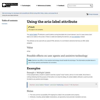 Using the aria-label attribute - Accessibility | MDN