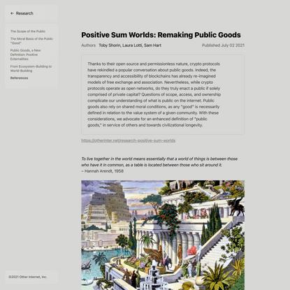 Positive Sum Worlds: Remaking Public Goods