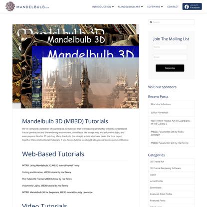 Mandelbulb 3D (MB3D) Tutorials   Mandelbulb.com