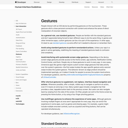 Gestures - User Interaction - iOS - Human Interface Guidelines - Apple Developer