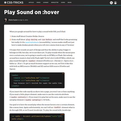 Play Sound on :hover