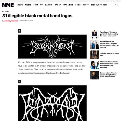 31 illegible black metal band logos