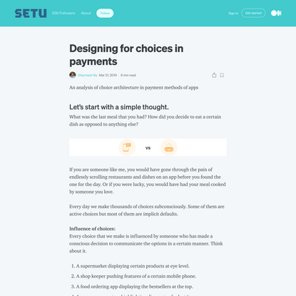 Designing for choices in payments