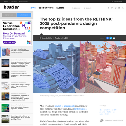 The top 12 ideas from the RETHINK: 2025 post-pandemic design competition