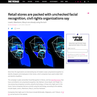 Retail stores are packed with unchecked facial recognition