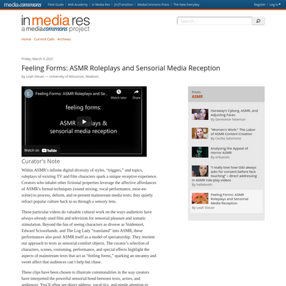 Feeling Forms: ASMR Roleplays and Sensorial Media Reception