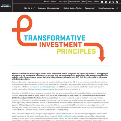 Transformative Investment Principles