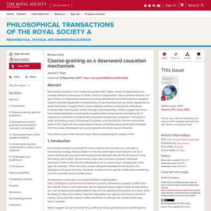 Coarse-graining as a downward causation mechanism | Philosophical Transactions of the Royal Society A: Mathematical, Physical and Engineering Sciences