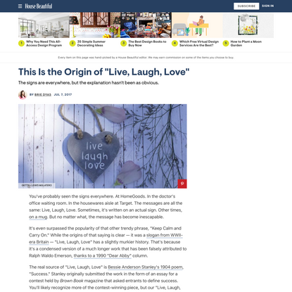 """This Is the Origin of """"Live, Laugh, Love"""""""