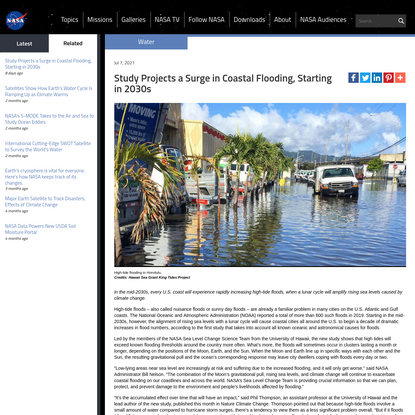 Study Projects a Surge in Coastal Flooding, Starting in 2030s