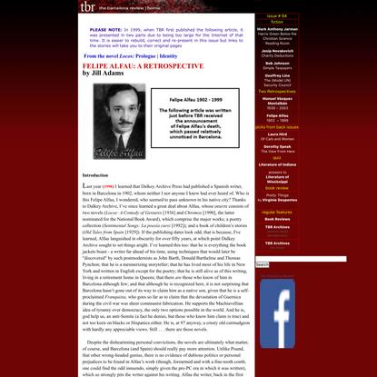 Felipe Alfau: A Retrospective by Jill Adams