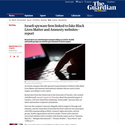 Israeli spyware firm linked to fake Black Lives Matter and Amnesty websites – report | Hacking | The Guardian