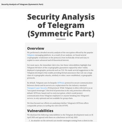 Security Analysis of Telegram (Symmetric Part)