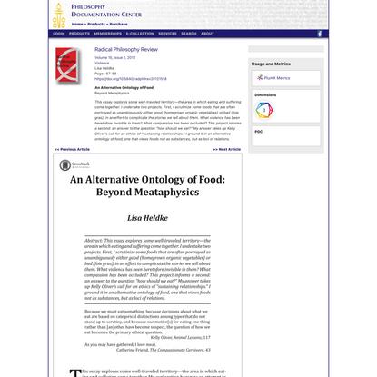 An Alternative Ontology of Food: Beyond Metaphysics - Volume 15, Issue 1, 2012