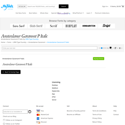Amsterdamer Garamont P Italic Font | Webfont & Desktop | MyFonts
