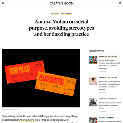 Ananya Mohan on social purpose, avoiding stereotypes and her dazzling practice | Creative Boom