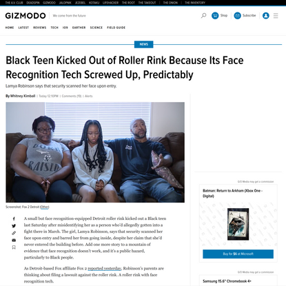 Roller Rink's Face Recognition Misidentified Black Teen Detroit