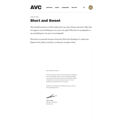 Short and Sweet - AVC