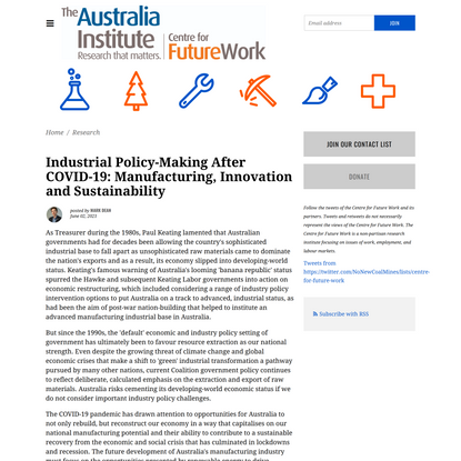 Industrial Policy-Making After COVID-19: Manufacturing, Innovation and Sustainability - Centre for Future Work