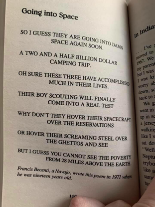 """Going into Space - """"a Diné man wrote a poem about the space race 50 years ago the more things change, the more they stay the same"""" - @hammerhead@goblin.camp"""