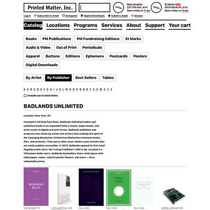Badlands Unlimited - Printed Matter