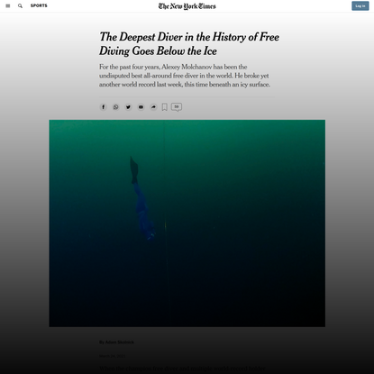 Freediver Alexey Molchanov's Latest World Record? Under the Ice - The New York Times