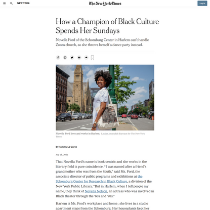 How a Champion of Black Culture Spends Her Sundays - The New York Times