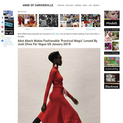 Adut Akech Makes Fashionable 'Practical Magic' Lensed By Josh Olins For Vogue US January 2019 — Anne of Carversville