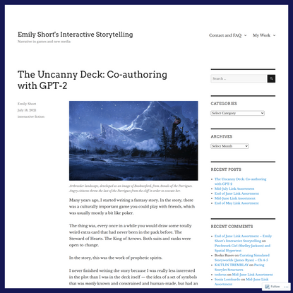 The Uncanny Deck: Co-authoring with GPT-2 – Emily Short's Interactive Storytelling