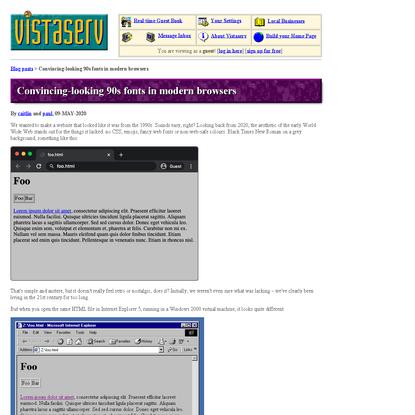 Convincing-looking 90s fonts in modern browsers - Vistaserv.net