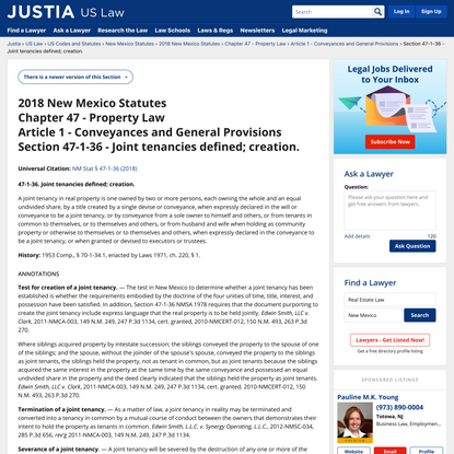 2018 New Mexico Statutes :: Chapter 47 - Property Law :: Article 1 - Conveyances and General Provisions :: Section 47-1-36 -...