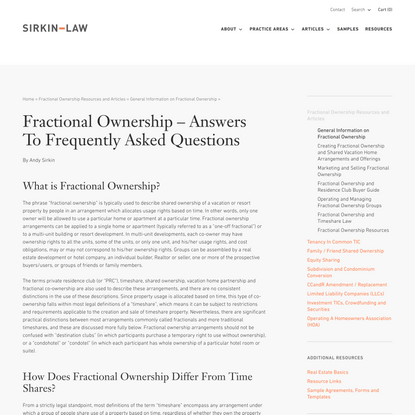 Fractional Ownership –Answers To Frequently Asked Questions