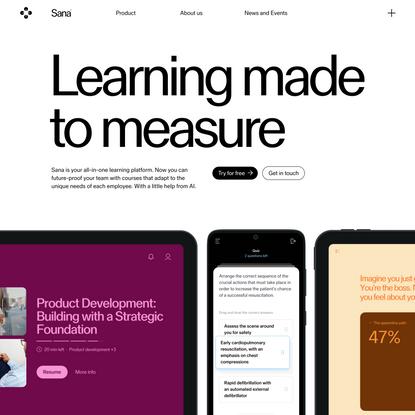 Personalized, adaptive learning   Sana Labs