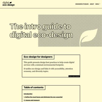 The intro guide to eco-design