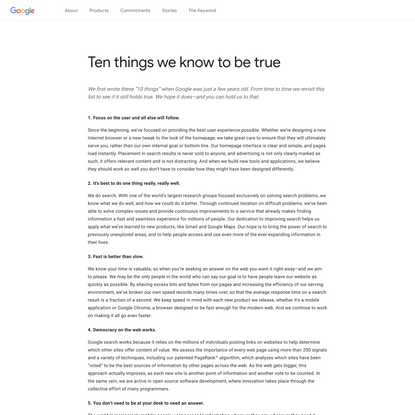 Ten things we know to be true -