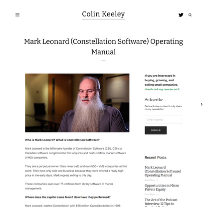 Mark Leonard (Constellation Software) Operating Manual — Colin Keeley