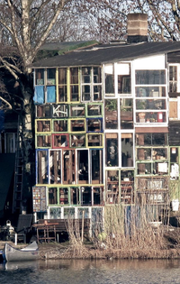 Glass House made of recycled windows in Christiania, Copenhagen, Denmark.