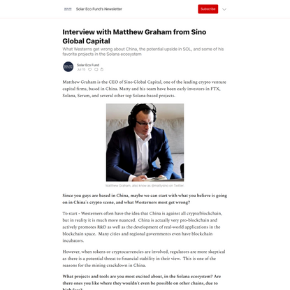 Interview with Matthew Graham from Sino Global Capital