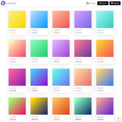 Gradient Colors Collection Palette - CoolHue 2.0
