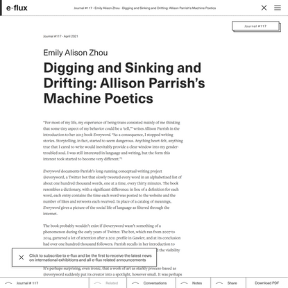 Digging and Sinking and Drifting: Allison Parrish's Machine Poetics - Journal #117 April 2021 - e-flux