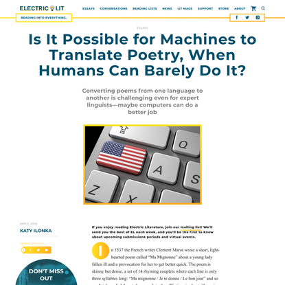 Is It Possible for Machines to Translate Poetry, When Humans Can Barely Do It? - Electric Literature