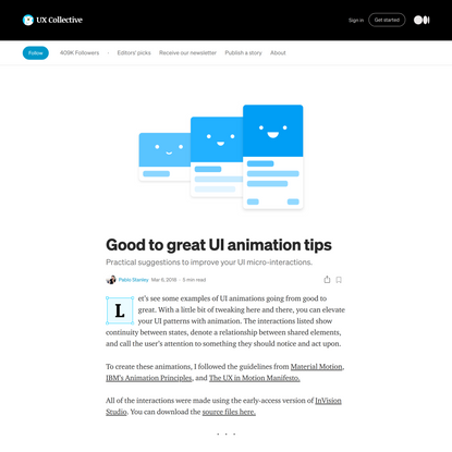 Good to great UI animation tips