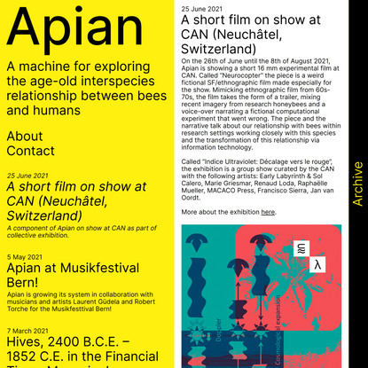 Home – Apian – A machine for exploring the age-old interspecies relationship between bees and humans